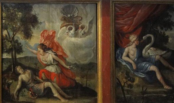 Ausschnitt Wandpaneel-Malerei mit Metamorphosen des Ovid
